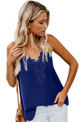 Blue Lace Cami Tank Top with Adjustable Spaghetti Straps