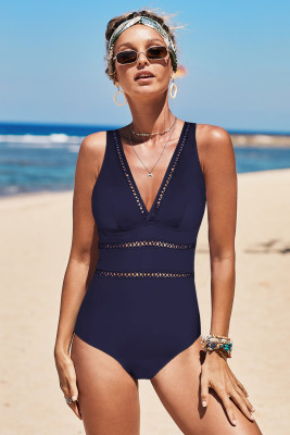 Blue Lattice Plunge One Piece Swimsuit