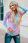 Multicolor Tie Dyed Pocket Pullover Hoodie