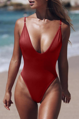Red V Neck One Piece Swimsuit