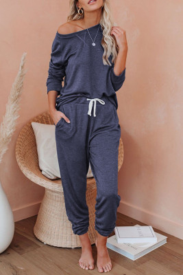 Navy Raglan Sleeve Top And Pants Loungewear Set