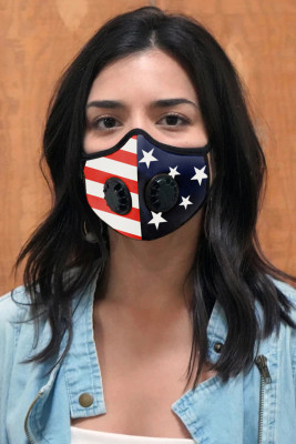 Multicolor American Flag Unisex Face Mask with Double Valves