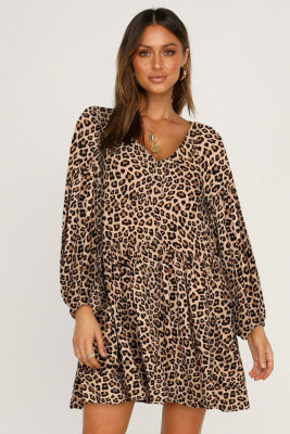 Leopard Print V Neck Long Sleeves Mini Dress