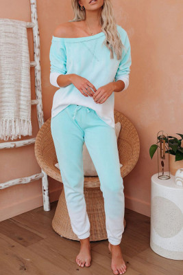 Green Cotton Blend Pocket Tie-dye Loungewear Set