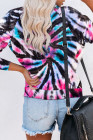White Cotton Blend Tie Dye Pullover Sweatshirt