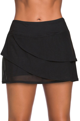 Black Tiered Swim Culotte