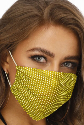 Yellow Studded Breathable Washable Reusable Mouth Mask