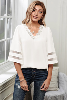 White V Lace Neckline 3/4 Bell Mesh Sleeves Blouse