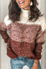 Red Colorblock Knit Pullover Sweater