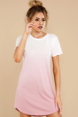 Ombre Pink Cotton T-shirt Dress