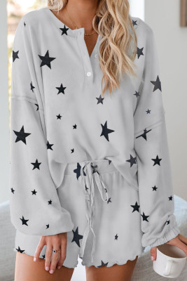 Star Print Knit Pajamas Set