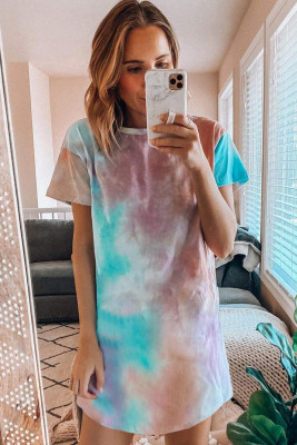 Robe t-shirt en coton multicolore dégradé