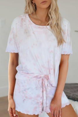 Pink Tie Dye Short Sleeve Shorts Lounge Set