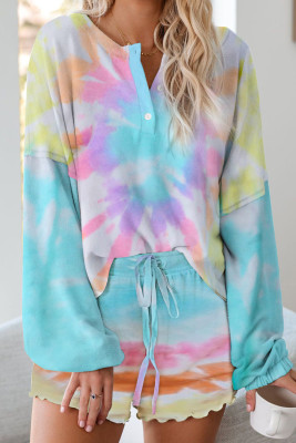 Türkis Tie Dye Knit Pyjamas Set