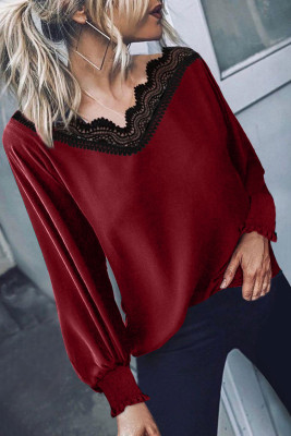 V Neck Lace Patchwork Red Blouse