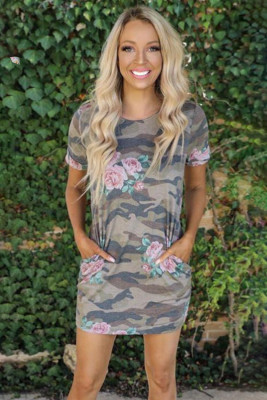 Crew Neck Camo Floral T-shirt Dress