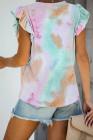 Camiseta con manga capó y volantes multicolor tie-dye
