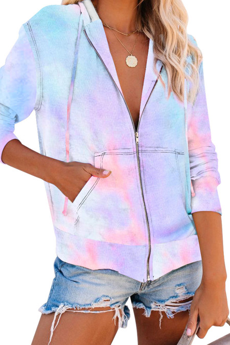 Himmelblauer Tie-Dye Pocket Zip Up Hoodie