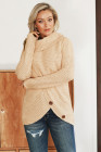 Beige Buttoned Wrap Turtleneck Sweater