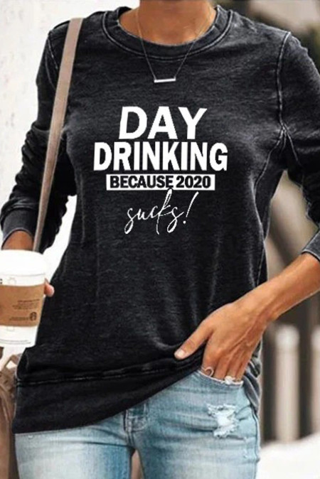 Bluza Day Drinking Bo Sucks Black Pullover 2020
