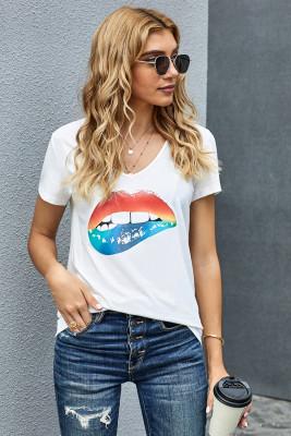 V cuello sexy boca camiseta blanca
