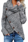 Heather Gray Buttoned Wrap Turtleneck Sweater
