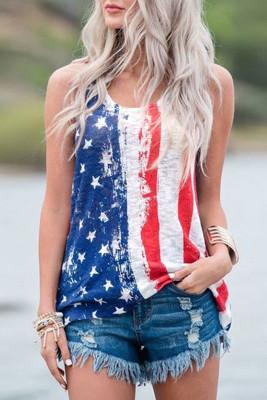 Stripes Star American Flag Print camiseta de tirantes