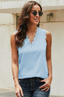 Sky Blue Sleeveless Eyelash Lace V Neck Tank Top