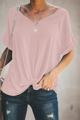 Pink Plain Crew Neck Short Sleeve Twist Tee