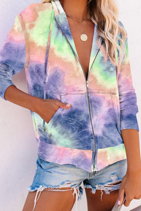 Фиолетовая толстовка с карманами на молнии