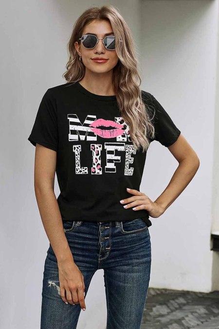 Leopard Mom Life Lips Черная футболка