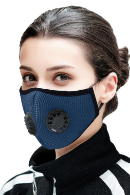 Sky Blue Double Respirator Air Filter Activated Carbon Mouth Face Mask