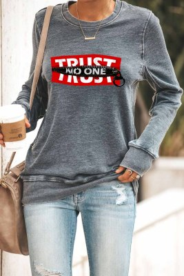 TRUST NO ON Sweatshirt gris imprimé graphique