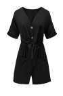 Black V Neck Tunic Romper with Pockets