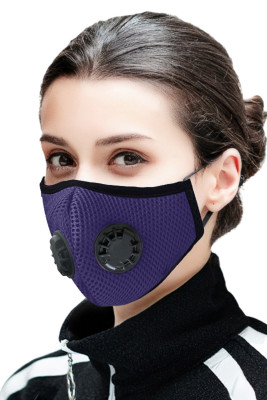 Mascarilla facial de boca de carbón activado con filtro de aire de doble respirador púrpura