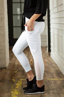 Calzas blancas con bolsillos Moto