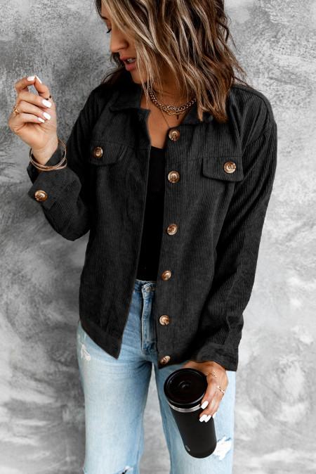 Черная вельветовая куртка с длинным рукавом в рубчик с карманом