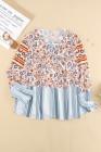 Блуза свободного кроя в полоску с цветочным принтом