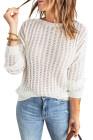 Weißer, ausgehöhlter Strickpullover mit überschnittener Schulter