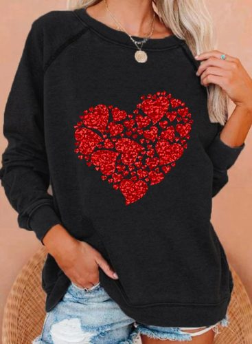 Women's Sweatshirts Heart-shaped Print Sequin Long Sleeve Round Neck Casual Sweatshirt
