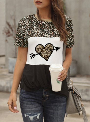 Women's T-shirts Casual Summer Heart-shaped Leopard Round Neck Short Sleeve Daily T-shirts