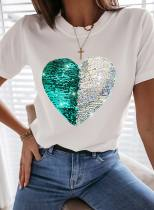 Women's T-shirts Heart-shaped Print Sequin Short Sleeve Round Neck Casual T-shirt