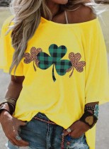 Women's T-shirts Leopard Saint Patrick's Day Print Short Sleeve One-shoulder T-shirt