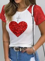 Women's T-shirts Heart-shaped Sequin Color Block Round Neck Short Sleeve Daily T-shirts