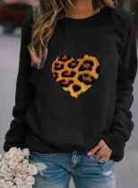 Women's Pullovers Casual Leopard Solid Round Neck Long Sleeve Daily Pullovers