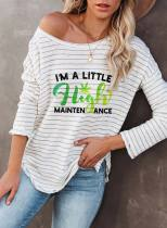 Women's T-shirts Striped Letter Striped Color Block Round Neck Long Sleeve Daily T-shirts