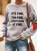 Women's Sweatshirts Letter Print Long Sleeve Round Neck Casual Sweatshirt
