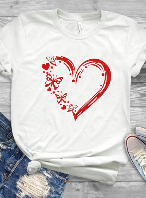 Women's T-shirts Butterfly Heart-shaped Print Short Sleeve Round Neck Daily T-shirt