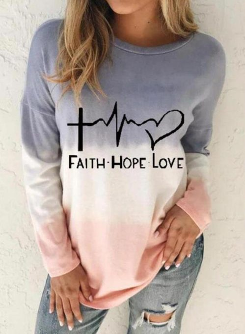 Women's Sweatshirts Round Neck Long Sleeve Letter Color Block Daily Pullovers