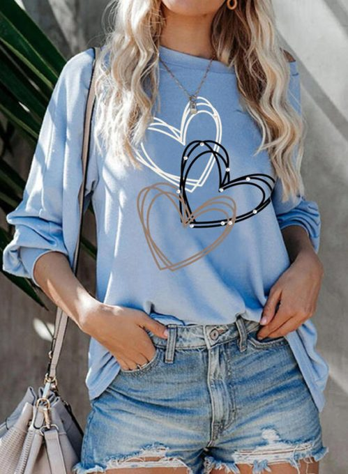 Women's Pullovers Casual Heart-shaped Cold Shoulder Solid Round Neck Long Sleeve Daily Pullovers